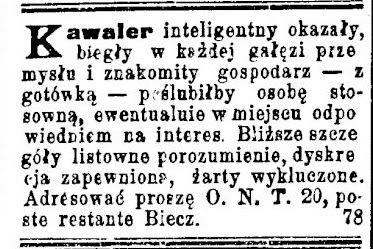 Biecz ogłoszenie matrymonialne 1902