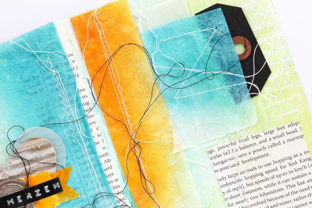 Art Journal Seite mit Ziernähten und Resist-Technik - Janna Werner