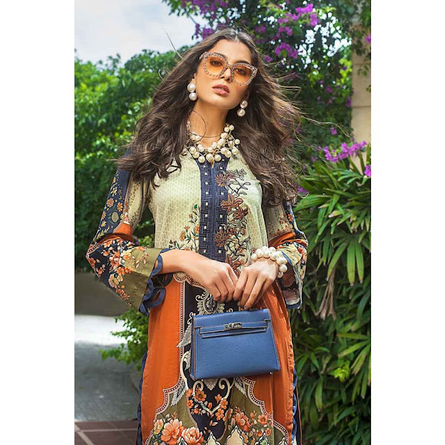 Gul Ahmed Rust color suit shaleen luxury collection