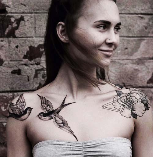 kadın omuz dövmeleri woman shoulder tattoos 4