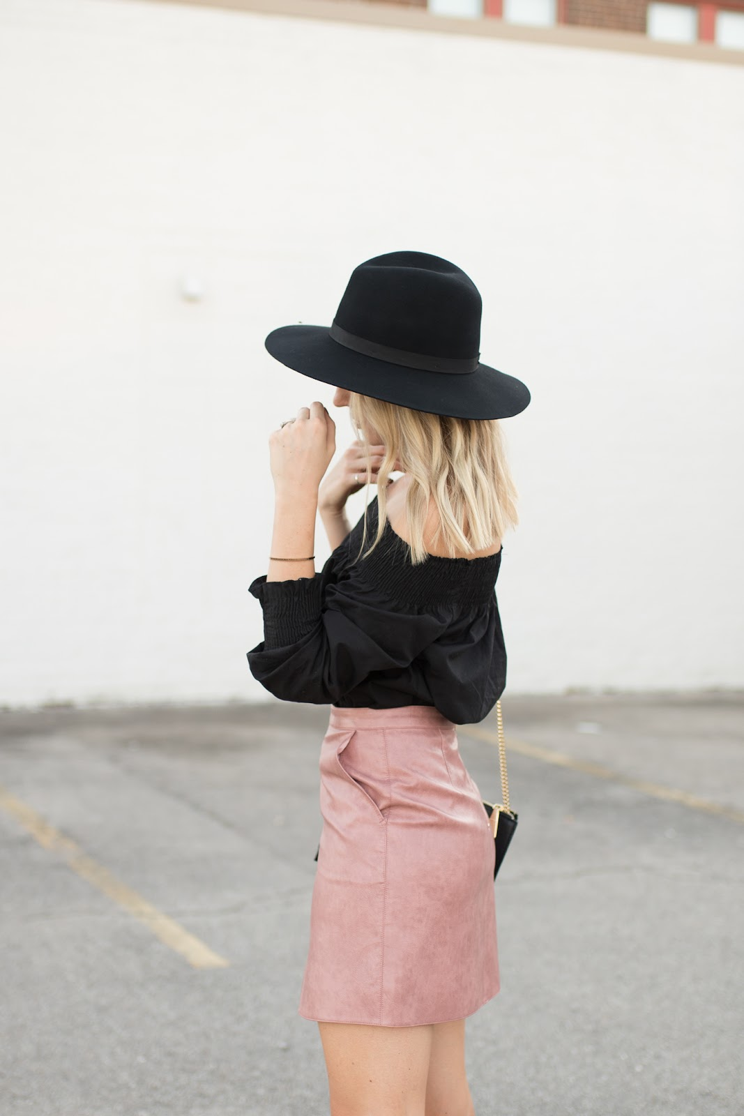 Pink faux leather mini