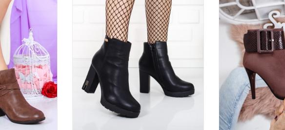 Botine negre casual de zi toc gros la moda 2019 frumoase