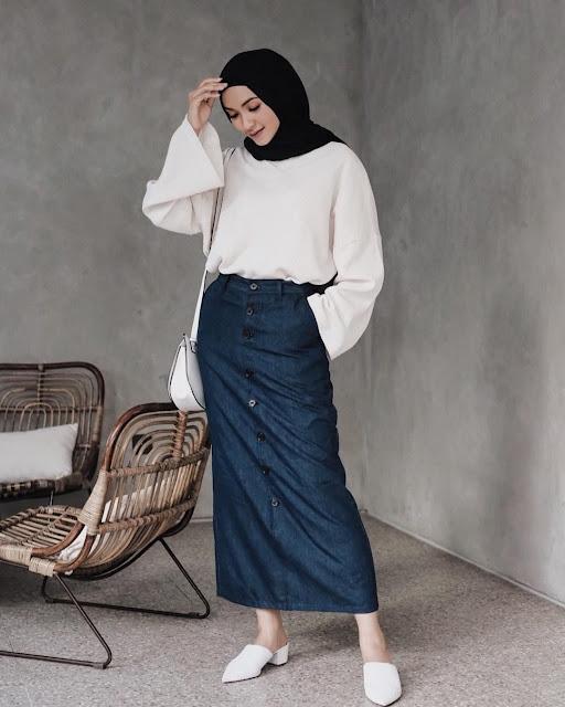 A Simple Long Denim Skirt