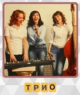 трио девушек музыкантов с инструментами стоят