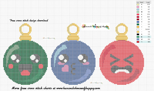 Kawaii Cross Stitch. Kawaii Christmas Tree Decorations to Cross Stitch for Free.
