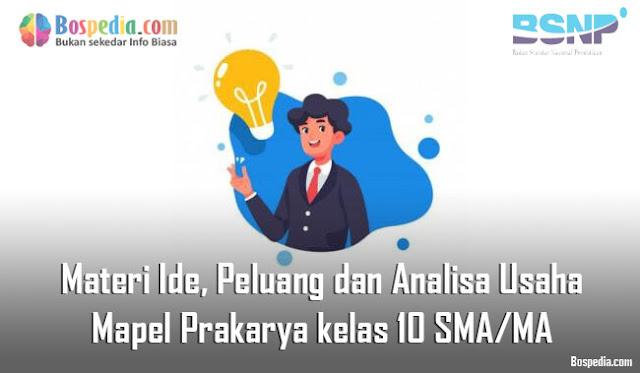 Materi Ide, Peluang dan Analisa Usaha Mapel Prakarya kelas 10 SMA/MA