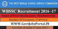 West Bengal School Service Commission Recruitment 2017– 1749 Headmaster/ Headmistress