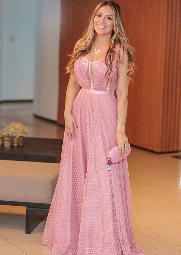 vestido longo rosa com bolinhas poás