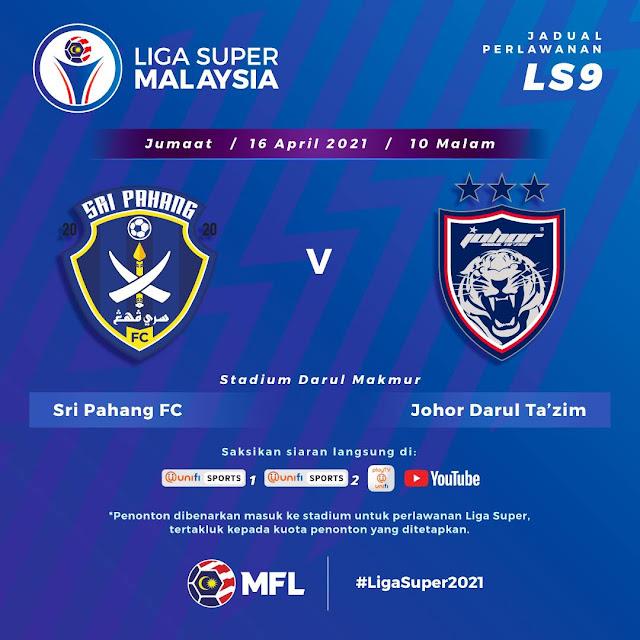 Live Streaming Pahang vs JDT Liga Super 16.4.2021