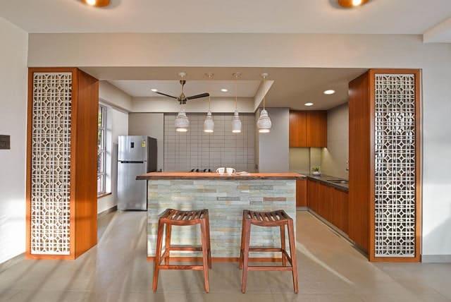 Inspirasi Ide Desain Dapur Minimalis Asia dengan panel dekoratif
