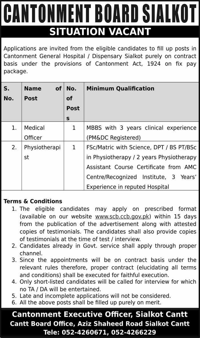 Latest Jobs in Cantonment Board Sialkot 07 Aug 2019