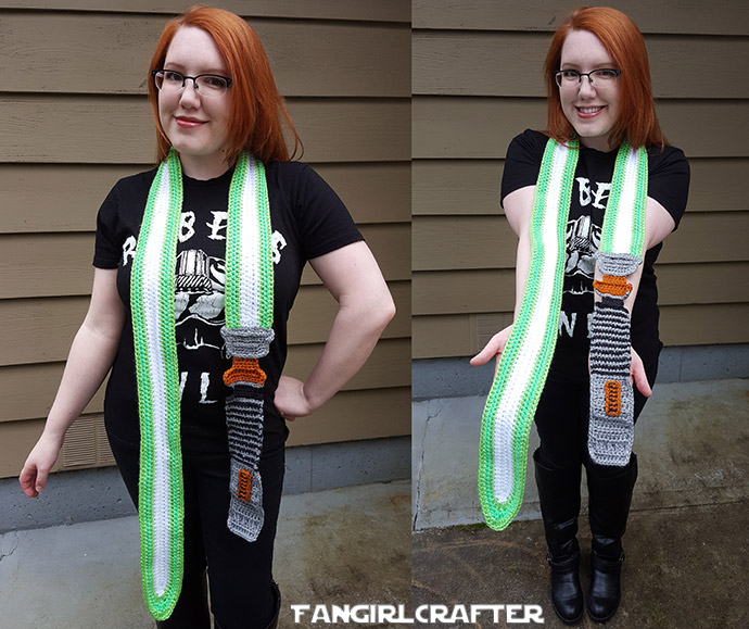 Luke Skywalker Green Lightsaber Scarf by the Fangirl Crafter