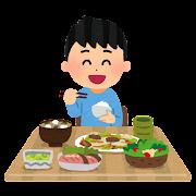食事をしている男の子のイラスト