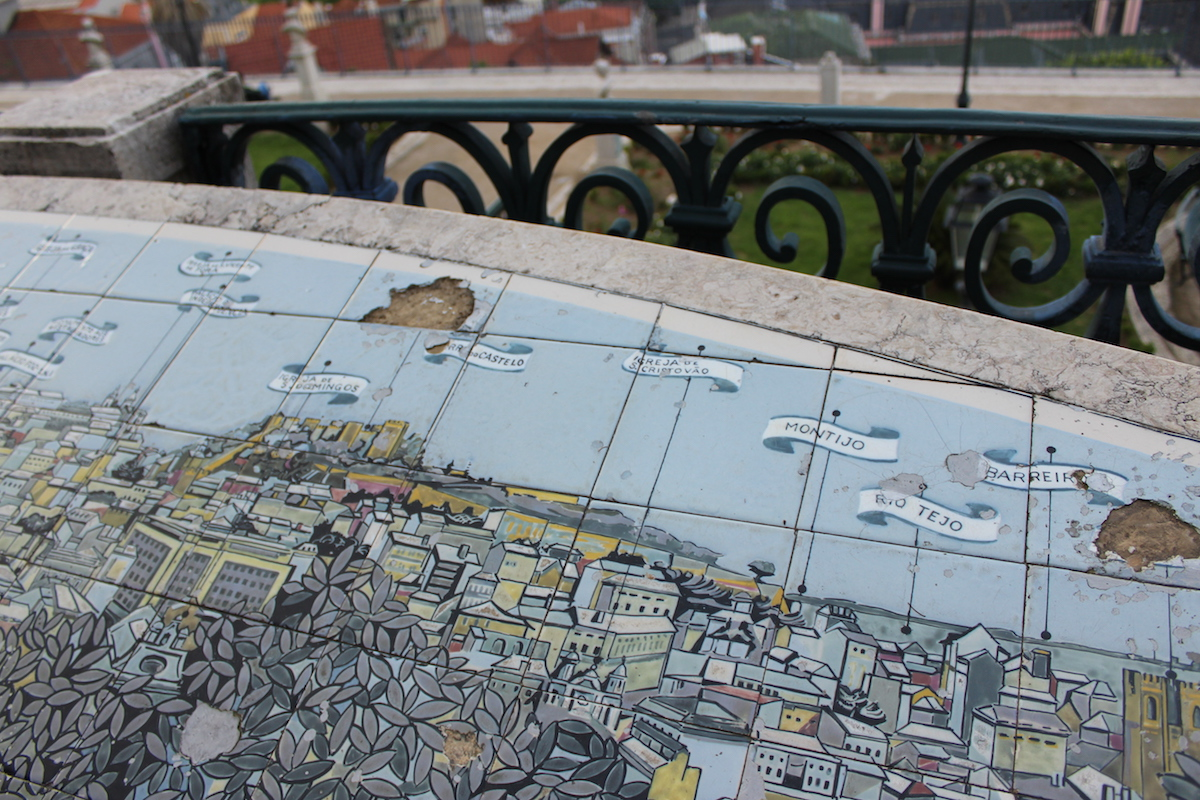 Miradouro Sao Pedro Alcantara view lisbon Blick Aussicht Lissabon Rooftop Castelo Brücke