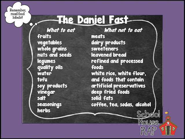 The Daniel Fast cheat sheet