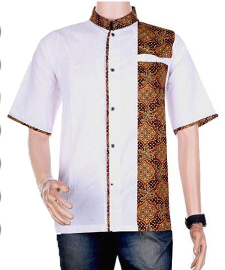 Desain Batik Kombinasi Polos Pria: #BusanaMuslim 5 Baju Koko Batik Kombinasi Polos