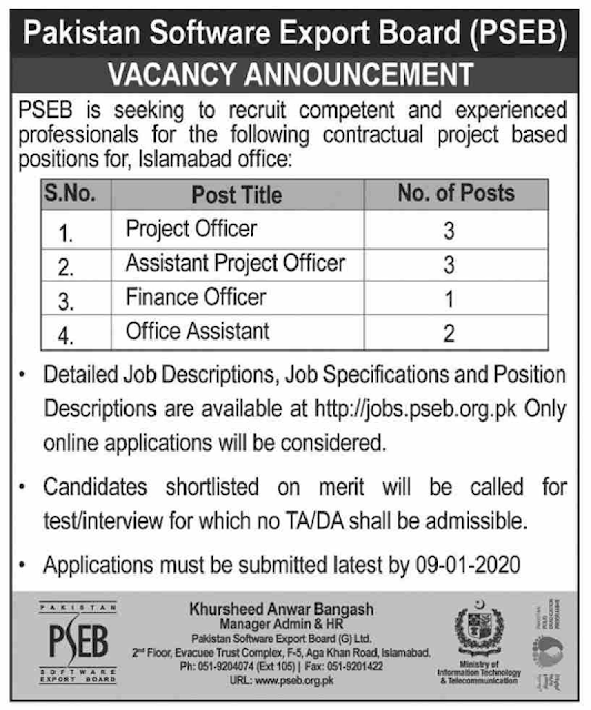 Pakistan Software Export Board ( PSEB ) Latest Jobs 2020 - Project Officer, Finance Officer, Office Assistant