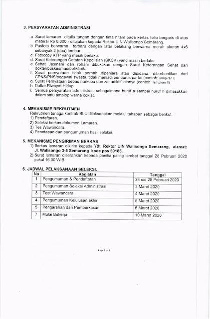 Pengumuman Seleksi Penerimaan Pegawai Kontrak BLU UIN Walisongo Semarang Tahun Anggaran 2020