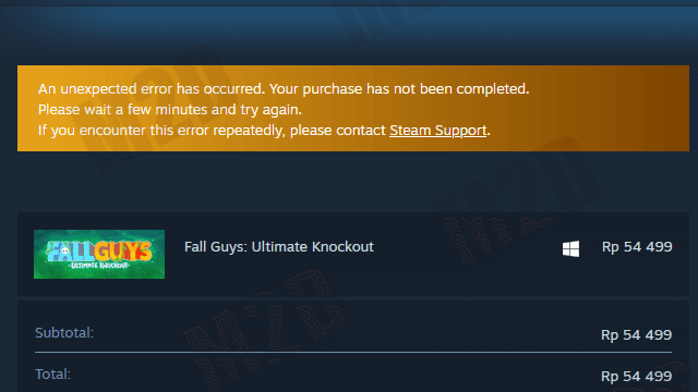 An unexpected error has occurred. Your purchase has not been completed