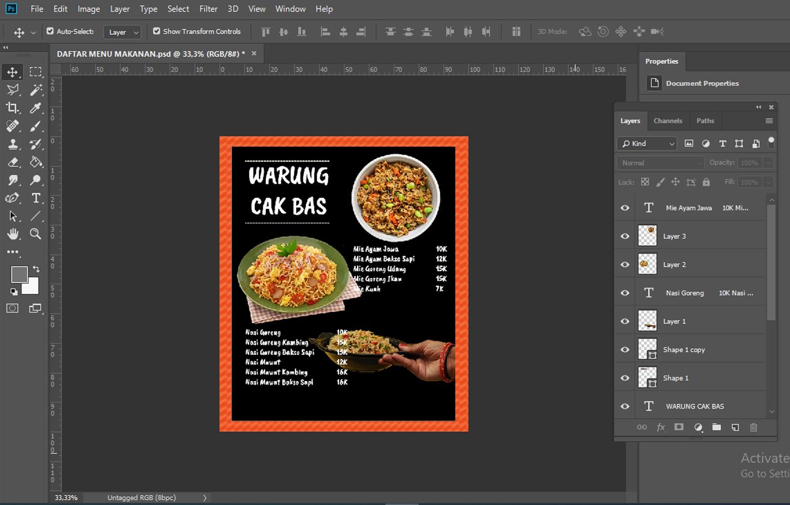 Menu makanan sudah jadi dibuat di Adobe Photoshop