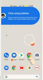 Chat bubble screen for andriod 11