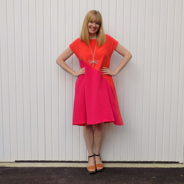 Hope clothing fucshia and orange pop-on dress