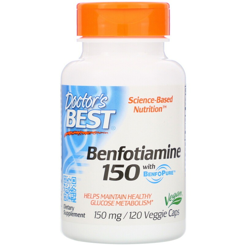 Doctor's Best, бенфотиамин с BenfoPure, 150 мг, 120 вегетарианских капсул