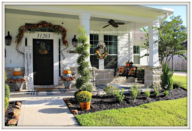 Fall -Porch-Decor-Hydrangea-wreath-stacked-pumpkins-porch-swing-olive-buckets-From My Front Porch To Yours