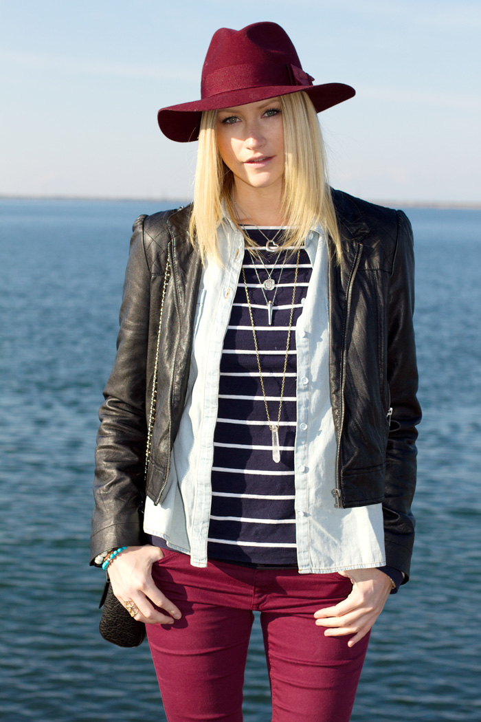 Vancouver Fashion Blogger, Alison Hutchinson, wearing H&M burgundy hat, Forever 21 pleather jacket, Urban Outfitters chambray denim top, H&M blue and white striped top, H&M burgundy skinny jeans, Zara black leather bag, Sportsgirl brown sneakers wedges, True Worth Design, Tiffany, Pyrrha, and La Dama necklaces