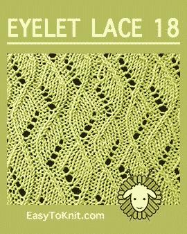 #Knit Vine stitch, Easy Eyelet Lace Pattern #easytoknit #knitlace