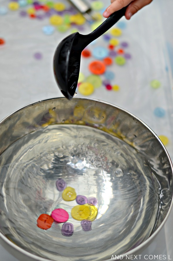 Water sensory play idea for toddlers & preschoolers from And Next Comes L