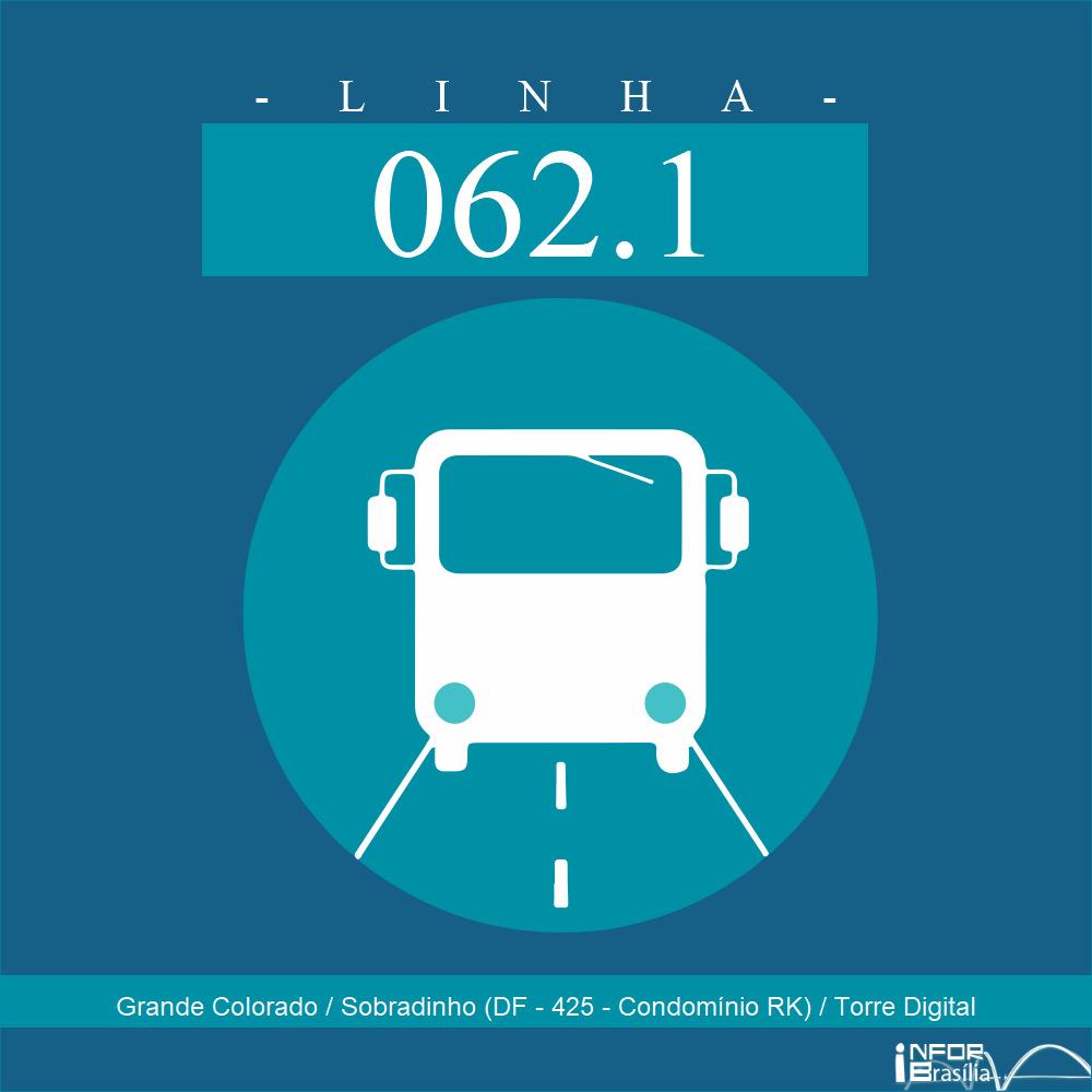 Horário de ônibus e itinerário 062.1 - Grande Colorado / Sobradinho (DF - 425 - Condomínio RK) / Torre Digital