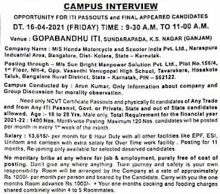 Honda Motorcycle and Scooter India Pvt. Ltd ITI Campus Interview at Gopabandhu ITI, Sundariapada Kabisuryanagar, Ganjam, Odisha