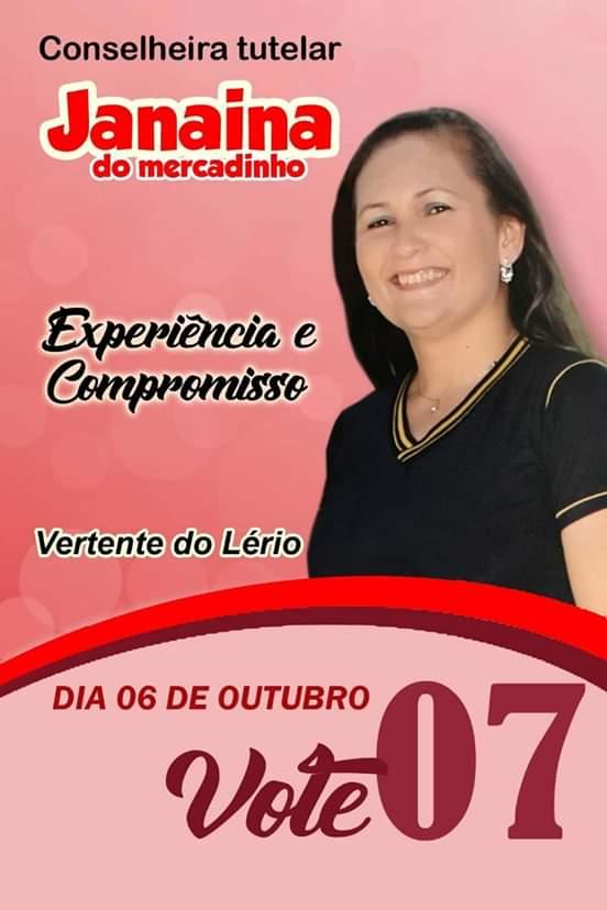 """""""Experiência e Compromisso"""" é o lema de Janaina Souza em sua terceira disputa ao cargo de conselheira tutelar de Vertente do Lério"""