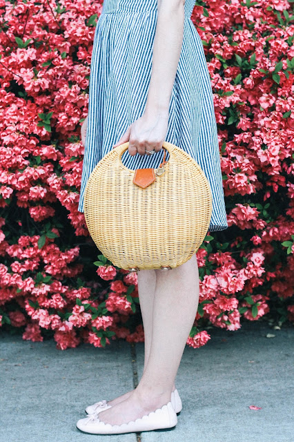 Striped Fit & Flare Dress New England Style Wicker Bag