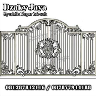 Contoh desain pagar tempa klasik untuk rumah mewah.