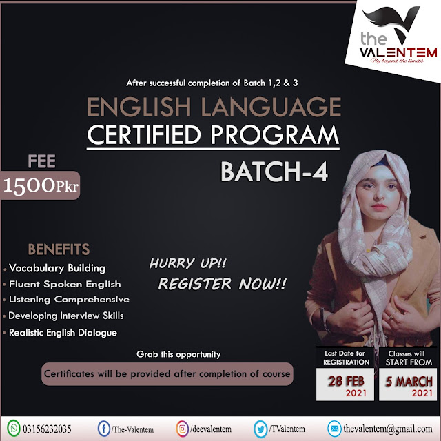 English Language Certified Program-2021 (ELCP-2021) The Valentem