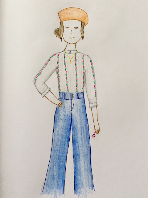 'Extrovert' character sketch, of a girl in an orange beret, flower pattern blouse, and wide blue jeans
