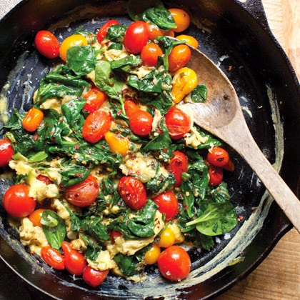 Blistered Tomato and Spinach Scramble for Breakfast