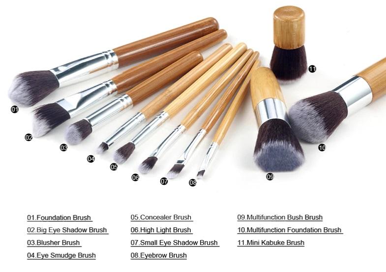 Επαγγελματικό Σετ Πινέλων Μακιγιάζ Bamboo Airbrushed Effect - Make Up Set 10 τμχ