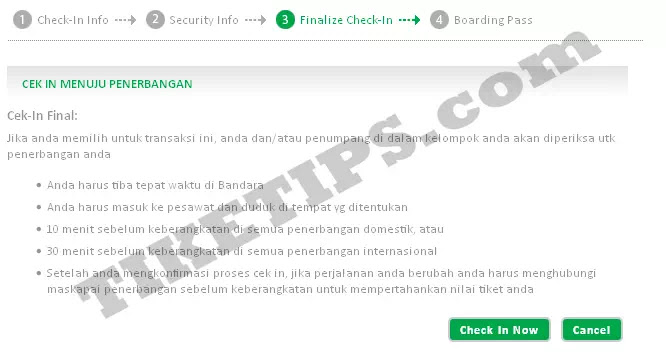 Proses akhir web check in citilink
