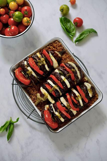 petit épeautre , haloumi , fromage , plat complet , cuisine d'été , aubergines