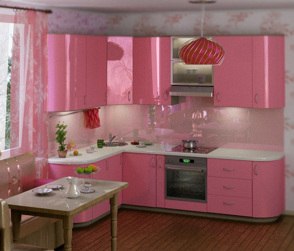 Decoration and ideas pink kitchen decoration for Kitchen set pink