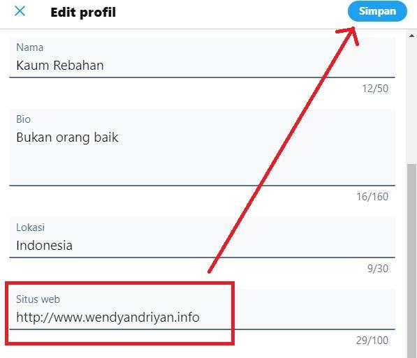 Menyisipkan Backlink di Profile Twitter