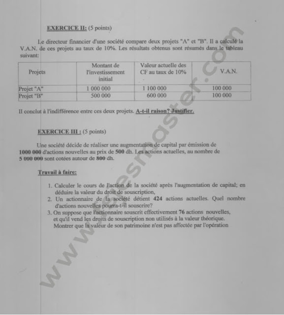 Concours Master Sciences de Gestion 2010-2011 - Fsjes Agdal