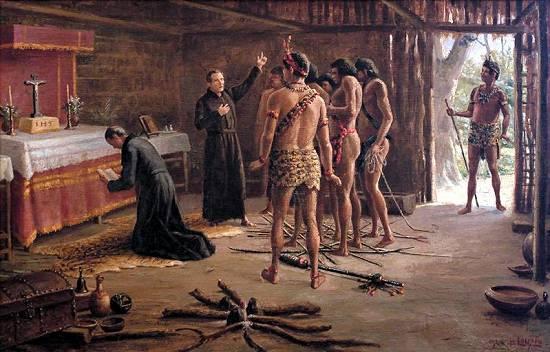 Jesuitas evangelizando a indigenas en latinoamerica