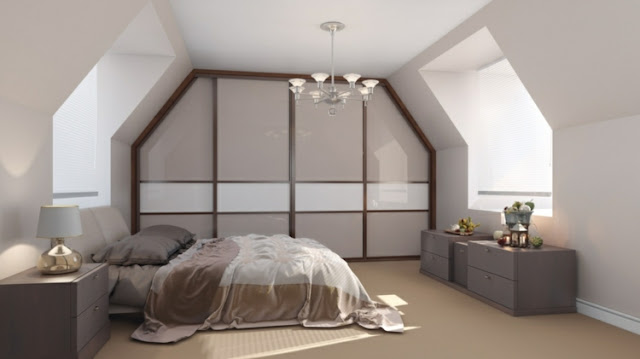 Modern bedroom with sliding door wardrobe custom taupe and white
