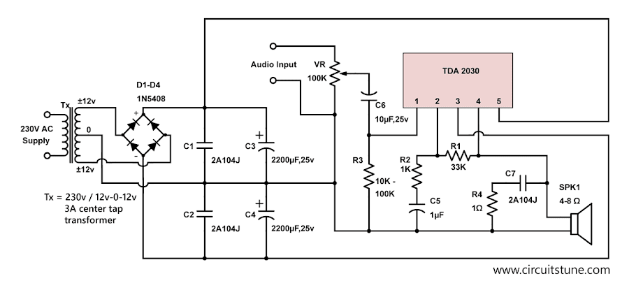 tda2030 amplifier circuit