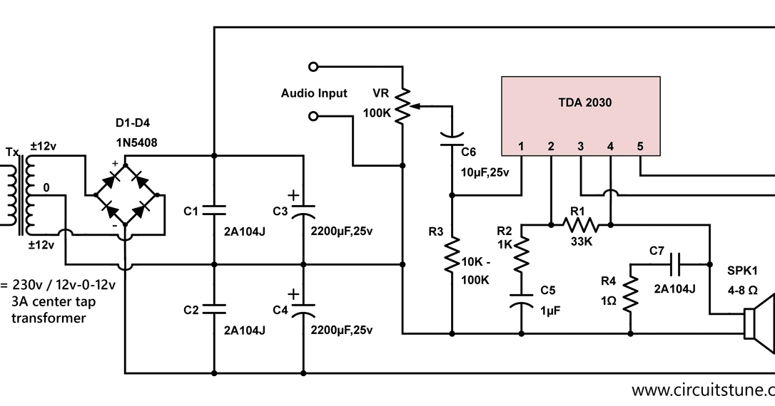 10w Audio Amplifier Circuit By Tda2030 Circuitstune