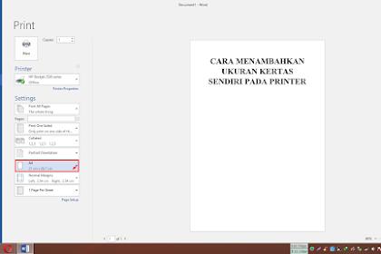 Cara Menambahkan Ukuran Kertas Sendiri Pada Printer